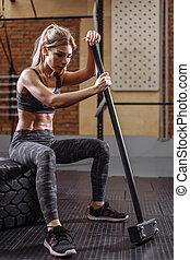schwierig, halt, m�dchen, anfall, motivayed, training, not