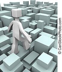 schwierigkeit, herausforderung, begriff, oder, überwinden