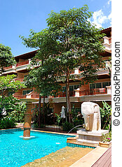 schwimmbad, an, der, populär, hotel, samui insel, thailand