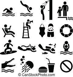 schwimmbad, meer, sandstrand, ikone, symbol