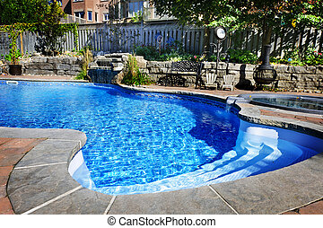 schwimmbad, mit, wasserfall