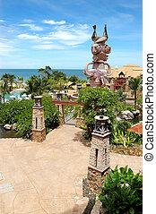 schwimmbad, strand, von, populär, hotel, pattaya, thailand