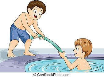 schwimmen, kinder, hilfe, abbildung, knaben, nudel, teich