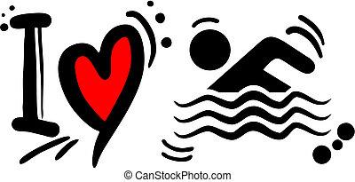 schwimmen, liebe