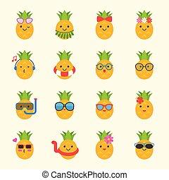 schwimmen, sommer, reizend, sonne brille, hawaii, gesicht, thema, ring, kopfhörer, kostüm, ananas, solch, sandstrand