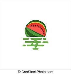 schwimmend, bestand, fruechte, logo, vektor, design, ikone, schablone, wassermelone