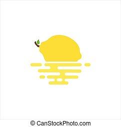 schwimmend, bestand, fruechte, logo, vektor, design, ikone, schablone, zitrone