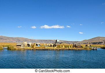 schwimmend, uros, schilfgras, inseln, auf, see titicaca