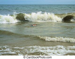 schwimmend, wellen