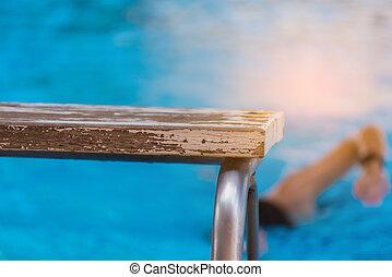 schwimmender, arbeitsbühne, verwischen, teich, leute