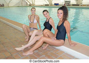 schwimmender, ehemalig, mitglieder, mannschaft