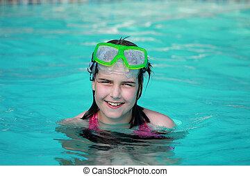schwimmender, glücklich, teich, kind