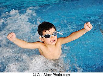 schwimmender, kind