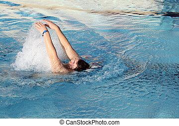 schwimmender, rückenschwimmen, junger, teich, mann