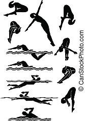 schwimmender, &, tauchen, weibliche , silhouetten