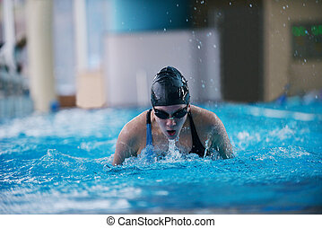 schwimmer, frau