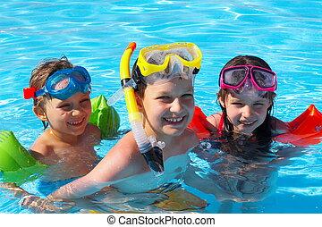 schwimmer, glücklich