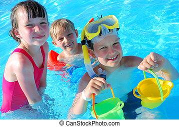 schwimmer, junger, glücklich