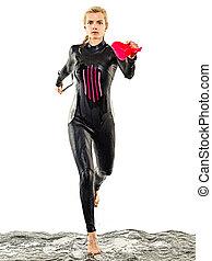 schwimmer, schwimmender, triathlete, triathlon, hintergrund, freigestellt, weißes, frau, ironman, badeanzug