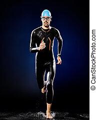 schwimmer, schwimmender, triathlon, freigestellt, mann, ironman