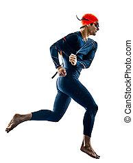 schwimmer, silhouette, triathlete, triathlon, freigestellt, weißes, badeanzug