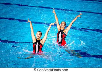 schwimmer, synchronisiert