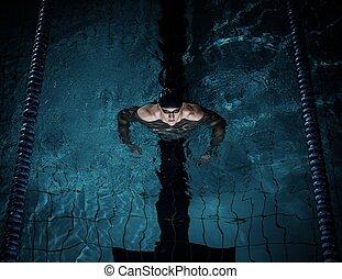 schwimmer, teich, schwimmender