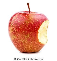 schwytany, biały, jabłko, czerwony, odizolowany