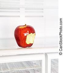 schwytany, jabłko, lodówka
