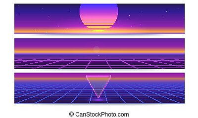 Sci fi abstract long horizontal banners with the sun on the horizon. Retro gradient, vintage style of the 80s. Digital cyber world, virtual surface with rays. 3D illustration for design of layout.