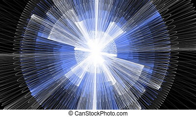 Sci-fi animation, unknown white and blue energy rays, circle...