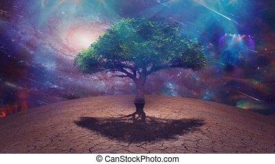 Sci Fi art. Tree of Life, Stars and Galaxies