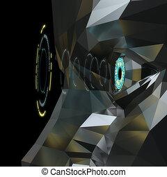 Sci-fi Artificial Eye Metallic Polygon
