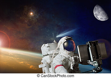 Sci-fi backckground - space selfie on orbit of planet Earth