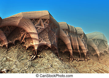 sci-fi background - Alien planet sci-fi background. 3D...