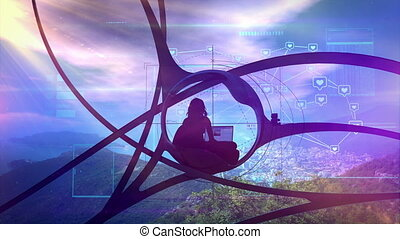 Sci-fi blogger surrounded by nature, social infographics - A...