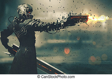 sci-fi gaming character in futuristic suit aiming weapon, shooting gun, illustration