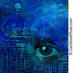 Sci fi - Girl and eye in futuristic scene