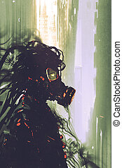 sci-fi concept of man wearing a futuristic gas mask, illustration painting