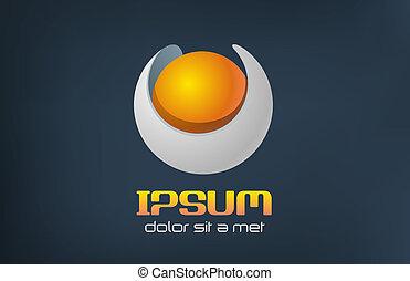 sci-fi., concetto, perla, sfera, arancia, logotipo, futuristico