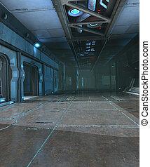Sci-Fi corridor interior design - 3d render of Sci-Fi...