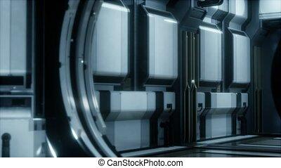 sci-fi, couloir, 3d, rendre, réaliste, vaisseau spatial