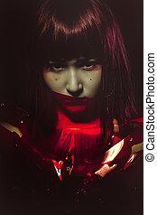 Sci-fi Cyborg, sensual future woman in red armor, science fictio