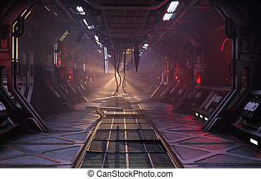 Sci-Fi damaged corridor - Sci-Fi grunge damaged metallic...