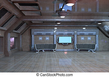 Sci-Fi deck room interior design 3d illustration