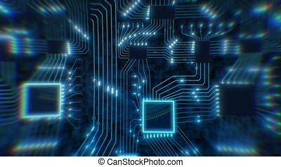 Sci-Fi digital blue background, printed circuit board with chips and electronic signals 3d render binary data. High quality footage