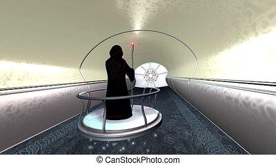 Sci fi druid moves through tunnel 3d render - Fantasy Sci fi...
