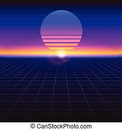 Sci fi futuristic abstract background with graphic sun on horizon. Violet retro gradient, vintage style of the 80s. Virtual surface with neon grids, digital cyber world. Illustration for poster.