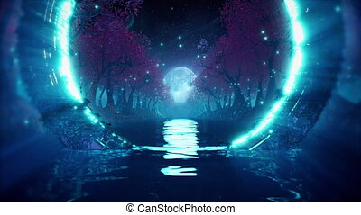 Sci-fi futuristic forest seamless loop with river, mangrove trees and alien technology. Flythrough in night landscape with bright moon and glowing rings. 3D animation for EDM music video, DJ set, club