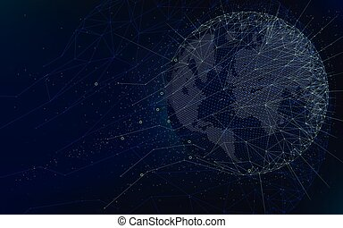 Sci-fi futuristic technologies, global network with world map, abstract vector infinite space background